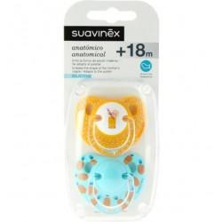 SUAVINEX Duplo Chupete Anatómico Látex +18 meses (Amarillo y Azul Piñas)