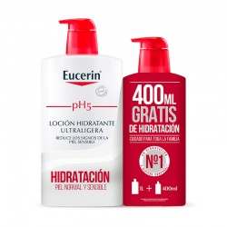 EUCERIN Pack Ahorro pH5 Loción Hidratante Ultraligera 1000ml + 400ml GRATIS