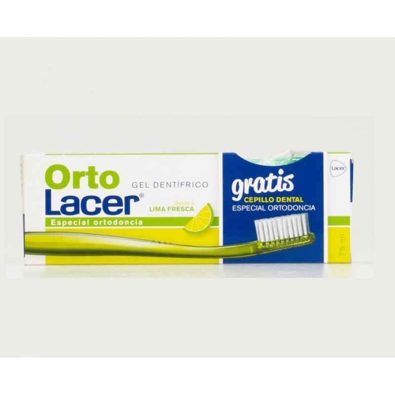 ORTO LACER Pasta de Dientes Sabor Lima 75ml + GRATIS Cepillo Ortodoncia