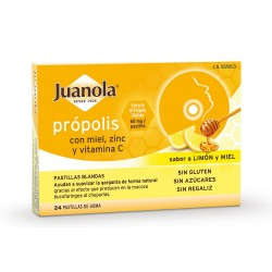 JUANOLA Própolis con Miel, Zinc y Vit C sabor Limón y Miel 24 Pastillas Blandas
