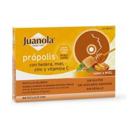 JUANOLA Própolis con Hedera, Miel, Zinc y Vit C sabor Miel 24 Pastillas Blandas