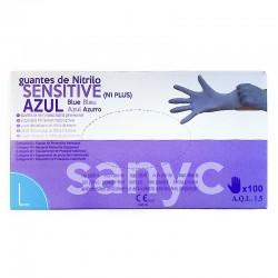 SANYC Guantes Desechables de Nitrilo Sensitive Azul Talla L 100uds