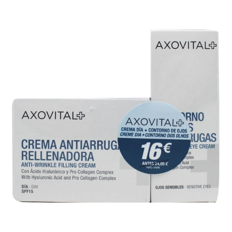 AXOVITAL Pack Crema Antiarrugas Día 50ml + Contorno de Ojos 15ml