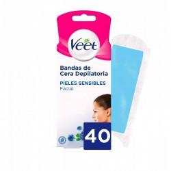 VEET Bandas de Cera Depilatorias Faciales Piel Sensible 40 uds