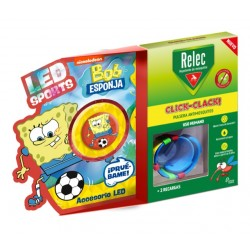 RELEC Pulsera Antimosquitos Infantil Click-Clack BOB ESPONJA Fútbol 2 recargas