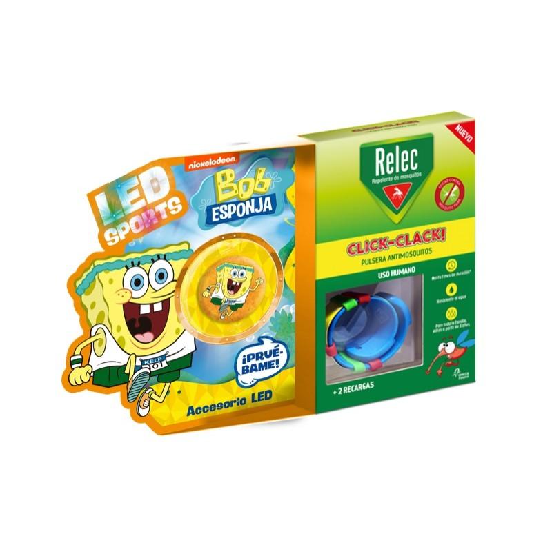 RELEC Pulsera Antimosquitos Infantil Click-Clack BOB ESPONJA Atletismo 2 recargas