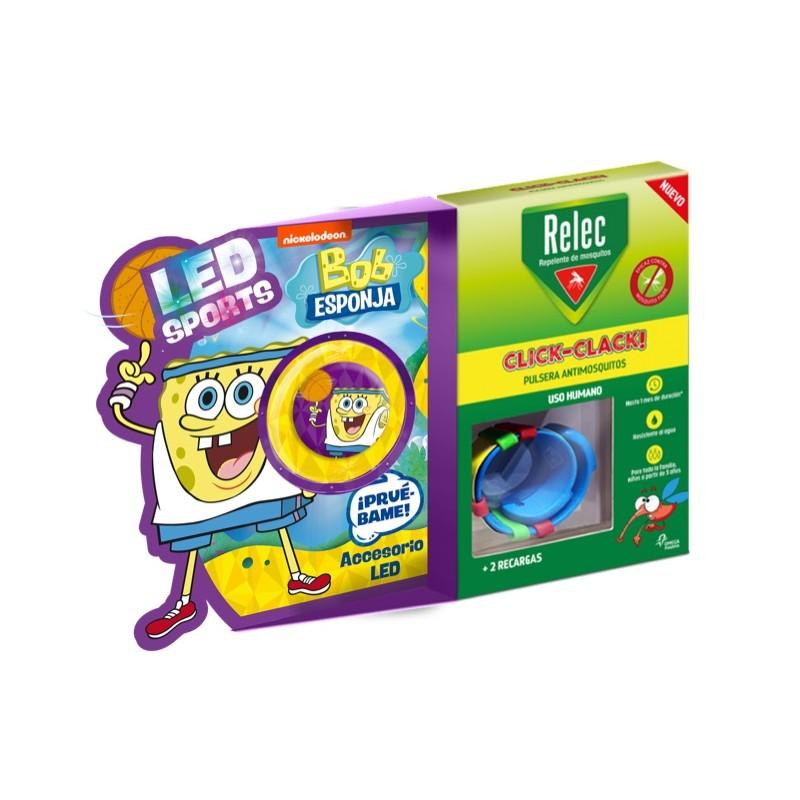RELEC Pulsera Antimosquitos Infantil Click-Clack BOB ESPONJA Baloncesto 2 recargas