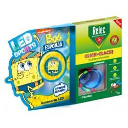 RELEC Pulsera Antimosquitos Infantil Click-Clack BOB ESPONJA Natación 2 recargas