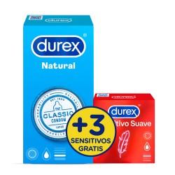 DUREX Pack Preservativo Natural 12 uds + Sensitivo Suave 3 uds de REGALO