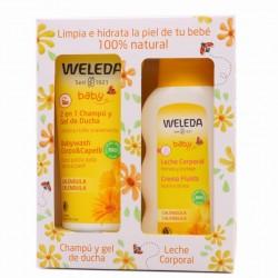 WELEDA Caléndula Pack Champú 2 en 1 (200ml) + Leche Corporal Bebé 200ml