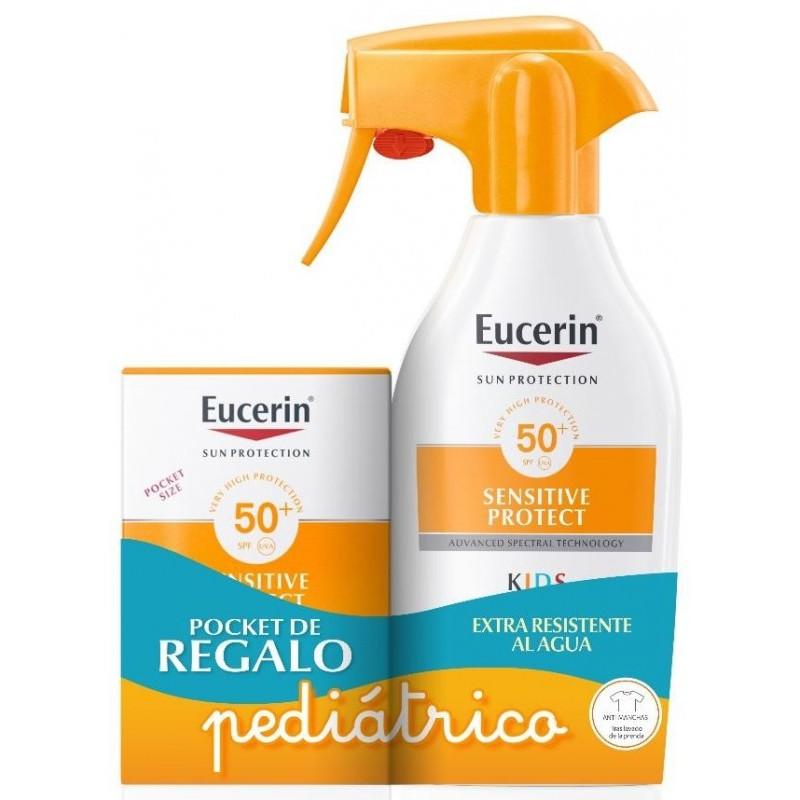 EUCERIN PACK Sensitive Protect Spray Solar Infantil SPF 50+ 300ml + 50ml GRATIS