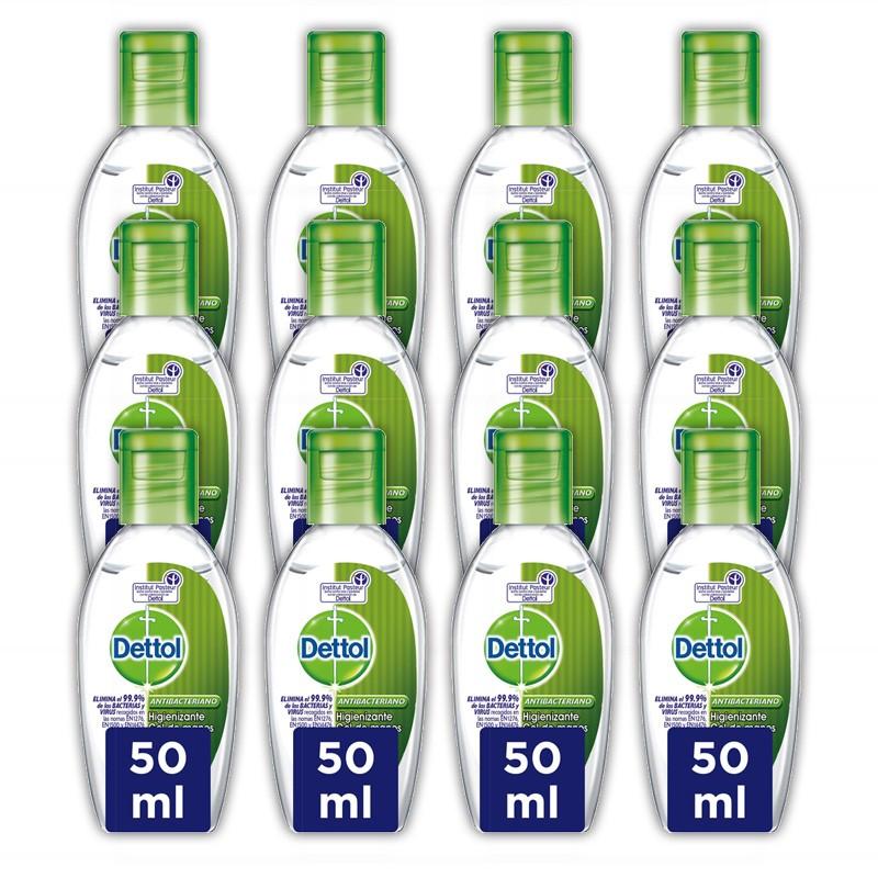 DETTOL Pack Gel de Manos Desinfectante Antibacteriano 12x50ml