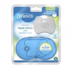 DR. BROWN'S Pezoneras de Silicona con Caja Esterilizadora Talla 2 (2 uds)