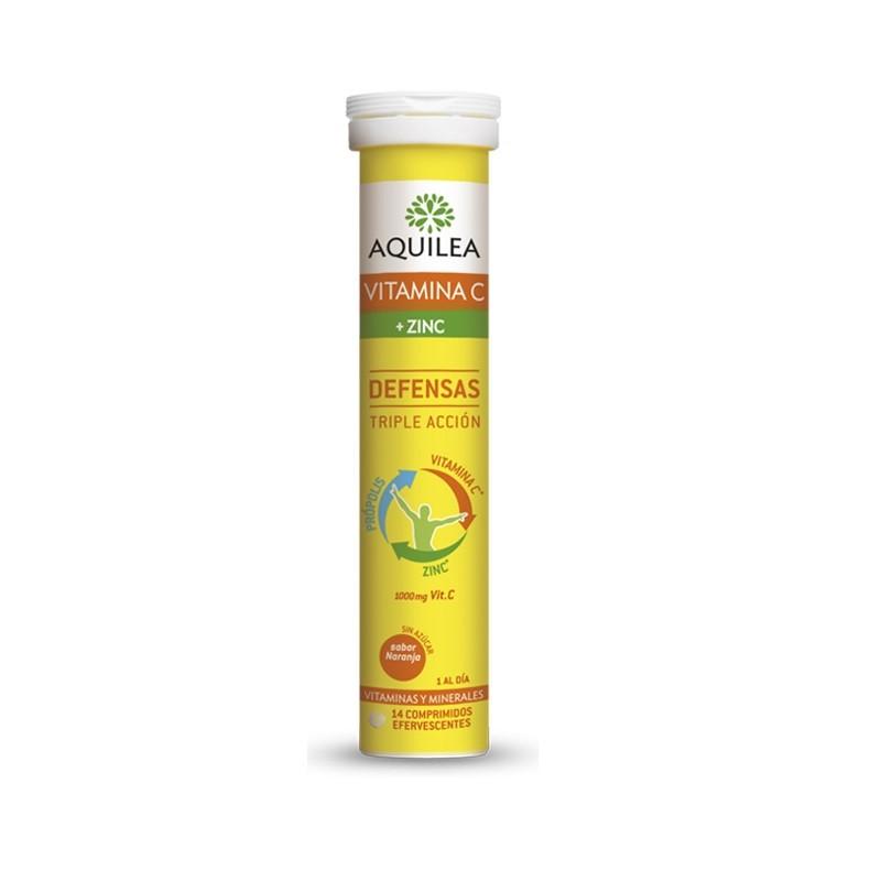 AQUILEA Vitamina C + Zinc Defensas Sabor Naranja 14 Comprimidos Efervescentes