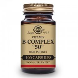 """SOLGAR Vitamina B-Complex """"50"""" Alta Potencia 100 Cápsulas Vegetales"""