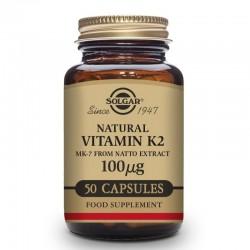 SOLGAR Vitamina K2 100μg con MK-7 Natural (Extracto de Natto) 50 Cápsulas Vegetales