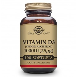 SOLGAR Vitamina D3 1000iu (25µg) 100 Cápsulas Blandas