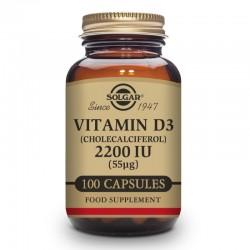 SOLGAR Vitamina D3 2200Ui (55 Mcg) (Colecalciferol) 100 Cápsulas Vegetales