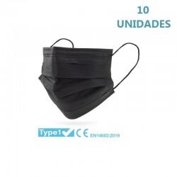 10x Mascarillas Quirúrgicas Negras Tipo I Desechables 10uds - CLUB NÁUTICO