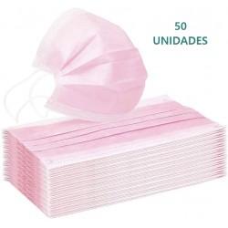 50x Mascarillas Quirúrgicas Rosas Tipo IIR Desechables BFE ≥98% Caja 50uds
