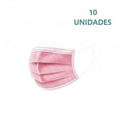 10x Mascarillas Quirúrgicas Rosas Tipo IIR Desechables BFE ≥98 10uds