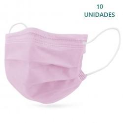 10x Mascarillas Quirúrgicas Infantiles Color Rosa Tipo IIR BFE 95% Pack 10 unidades