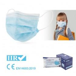 50x Mascarillas Quirúrgicas Infantiles Color Azul Tipo IIR BFE 95% Caja 50 unidades