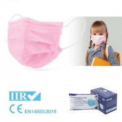 50x Mascarillas Quirúrgicas Infantiles Color Rosa Tipo IIR BFE 95% Caja 50 unidades