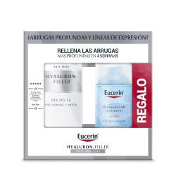 EUCERIN Hyaluron-Filler Día SPF15 Piel Normal y Mixta + Agua Micelar DermatoCLEAN 3 en 1 de REGALO