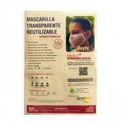 Mascarilla Transparente Homologada Reutilizable Viroblock Talla XL - BEYFE-