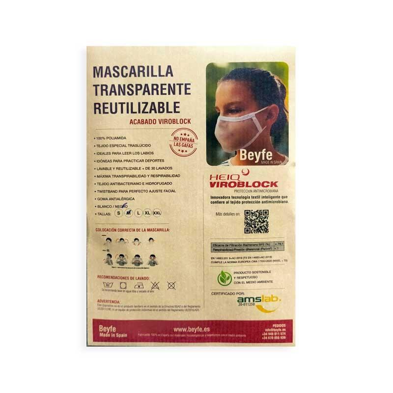 Mascarilla Transparente Homologada Reutilizable Viroblock Talla XXL - BEYFE-