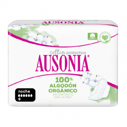 AUSONIA Cotton Protection Noche Compresa con Alas 9 Unidades