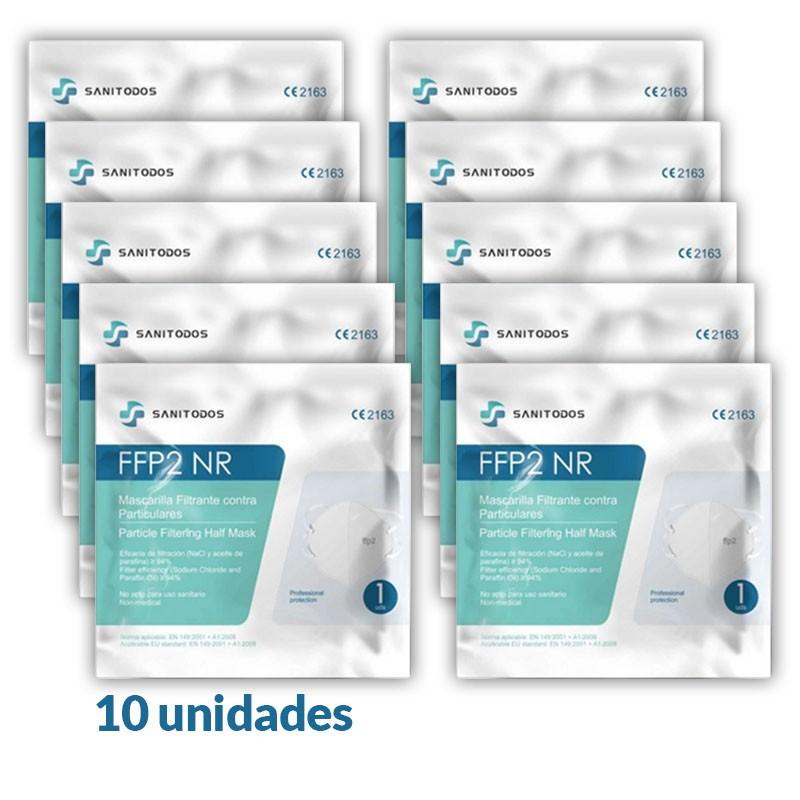 10x MASCARILLAS FFP2 5 Capas BFE 94% SANITODOS 10 Unidades