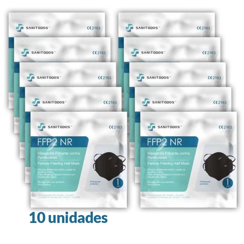10x MASCARILLAS FFP2 con Certificado CE Negras BFE 94% NR 10 Unidades - SANITODOS