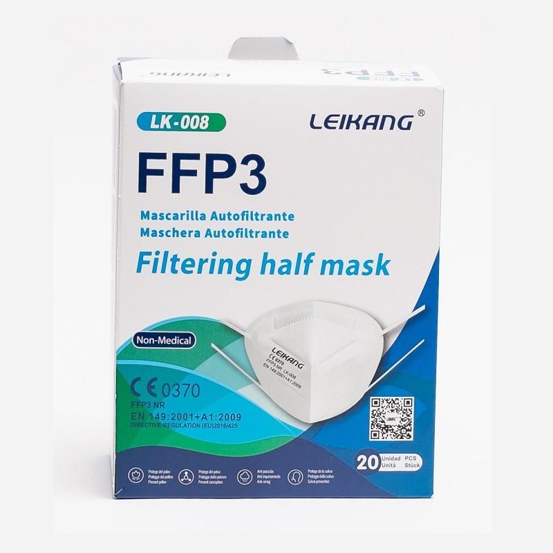 20x MASCARILLAS FFP3 Alta Eficacia de Filtración 99% NR 5 Capas - LEIKANG