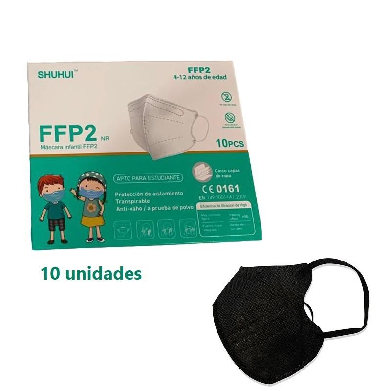 10x Mascarillas FFP2 Niño Homologadas NEGRAS ≥95% Alta Eficacia 5 Capas (10 Mascarillas) - SHUHUI