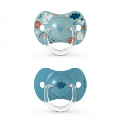 SUAVINEX Chupete SX Pro Tetina Fisiológica Silicona 6-18 Meses 2 Unidades (Nube Azul)