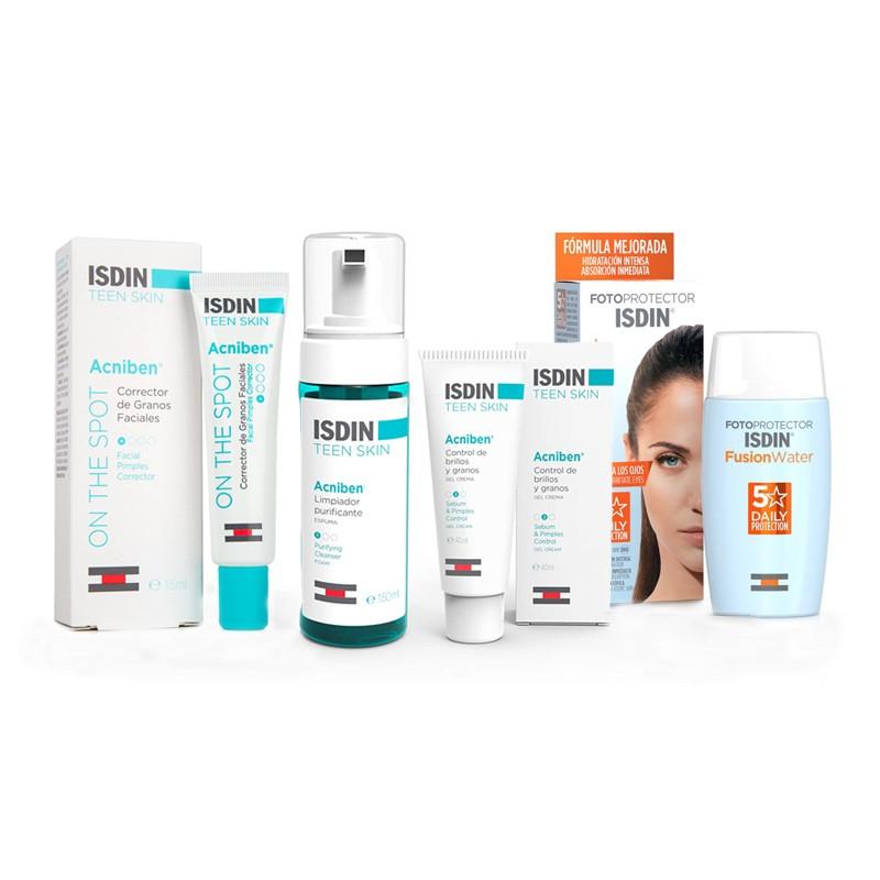 ISDIN Maskné Pack Acniben Gel Crema + Limpiador + Corrector de Granos + Fusion Water