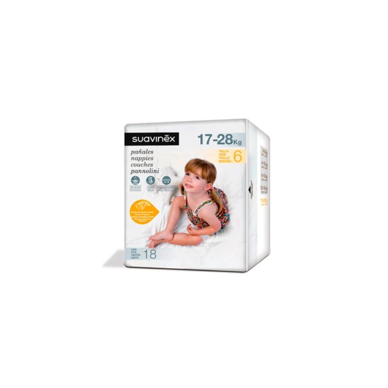 SUAVINEX Pañales de Bebé Talla 6 Junior (17-28kg) 18 Unidades