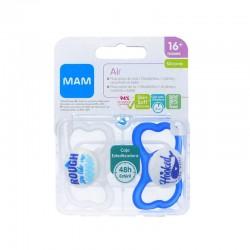 MAM Chupete Air Silicona 16+M 2 Unidades (Azul y Blanco)