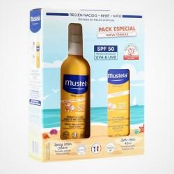 MUSTELA Pack Crema Solar Bebés SPF50+ Spray 200ml + Leche Solar SPF50+ (40ml)