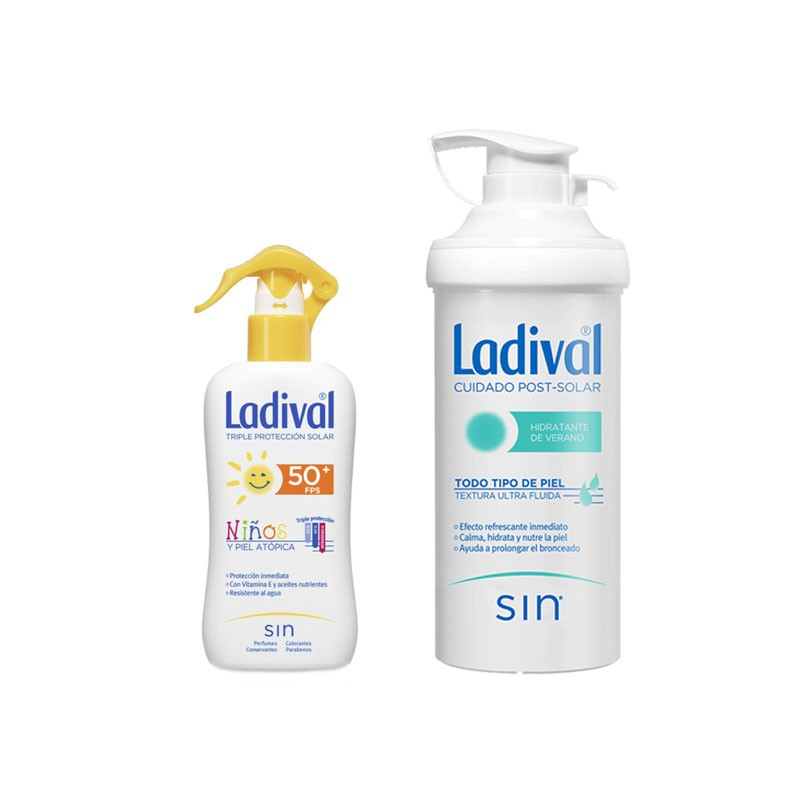LADIVAL Protector Solar Niños Spray SPF 50+ 200ml + After Sun 500ml de REGALO