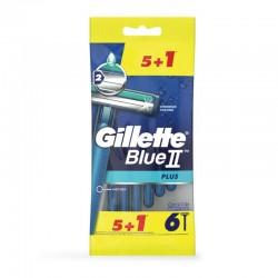 GILLETTE Blue II Plus Maquinilla de Afeitar Desechable 5 Unidades + 1 GRATIS