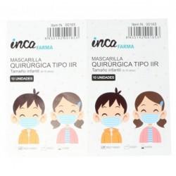 Mascarillas Quirúrgicas Niños Hechas en España Tipo IIR Pack 10 Unidades INCA