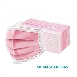 Mascarillas Quirúrgicas Niños Rosas Hechas en España Tipo IIR Caja 50 Unidades INCA