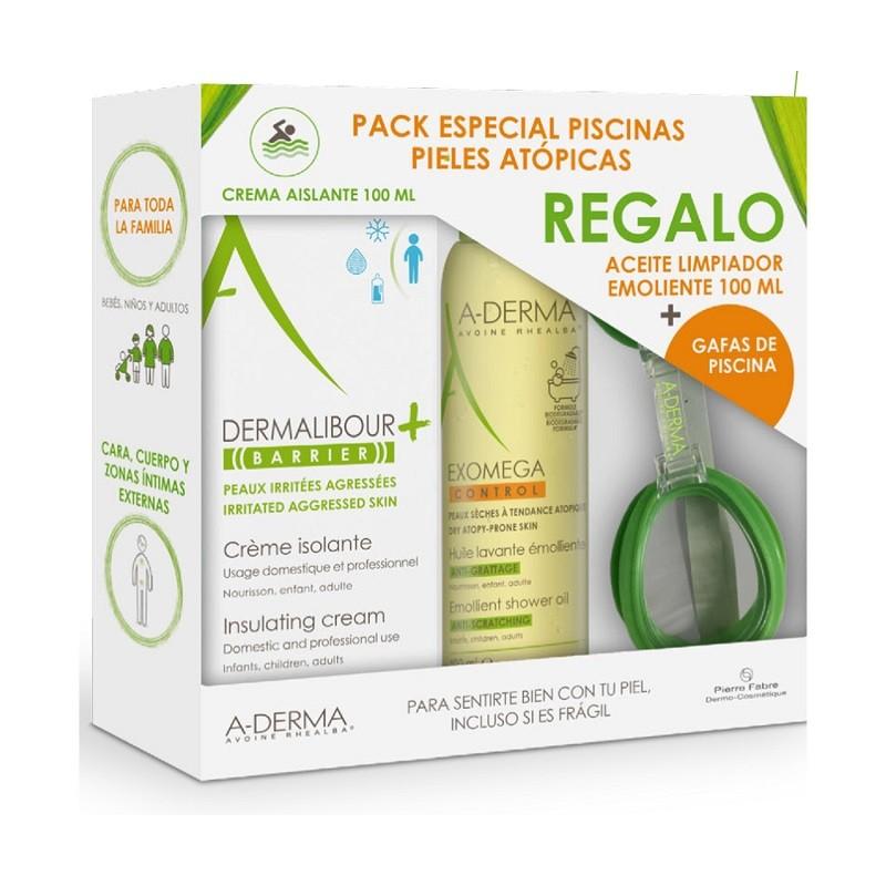A-DERMA Crema Protectora Dermalibour 100ml + Exomega Aceite Limpiador 100ml + Gafas Piscina