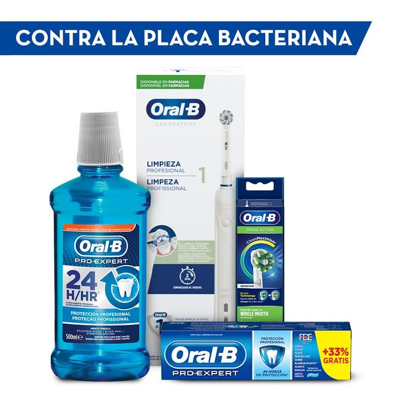ORAL-B Pack Placa Bacteriana: Cepillo Eléctrico y Recambios + Dentífrico y Colutorio REGALO