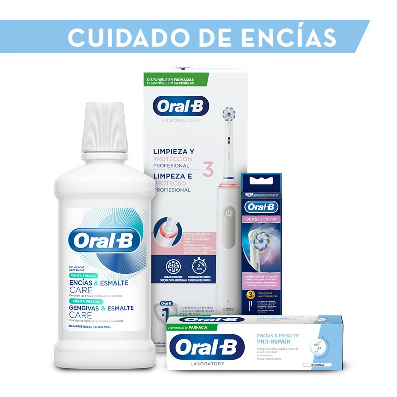 ORAL-B Pack Cuidado de Encías: Cepillo Eléctrico y Recambios + Dentífrico y Colutorio REGALO