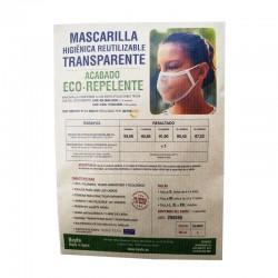 Mascarilla Transparente Homologada Reutilizable Eco-Repelente Color Blanco Talla L - BEYFE