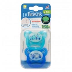 DR. BROWN'S Chupete Silicona Noche 0-6 Meses 2 Unidades (Ovejas Azul)